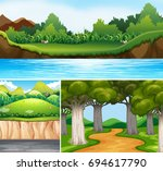Three Nature Scenes With River...