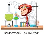 mad scientist mixes chemical in ... | Shutterstock .eps vector #694617934