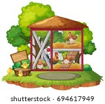 many chickens in the coop...   Shutterstock .eps vector #694617949