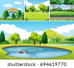 Four Scenes Of Park At Day Tim...