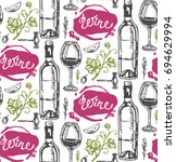 hand drawn doodle pattern with... | Shutterstock .eps vector #694629994