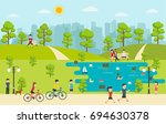 public park with people... | Shutterstock .eps vector #694630378