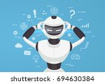 chat bot  robot virtual... | Shutterstock .eps vector #694630384