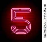 realistic red neon number.... | Shutterstock . vector #694635748