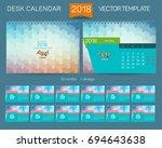 desk calendar 2016 vector... | Shutterstock .eps vector #694643638