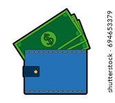 wallet money banknote pay bank... | Shutterstock .eps vector #694653379