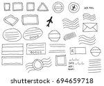 blank doodle sketch postal...   Shutterstock .eps vector #694659718