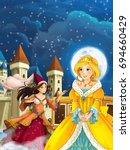 cartoon scene with princess or... | Shutterstock . vector #694660429