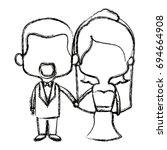 cute couple husband wife in... | Shutterstock .eps vector #694664908