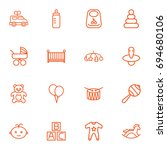 set of 16 baby outline icons... | Shutterstock .eps vector #694680106