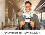 beautiful young african woman... | Shutterstock . vector #694683274