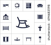 set of 13 decor icons set... | Shutterstock .eps vector #694683598