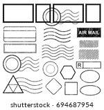 blank postal stamps set...   Shutterstock .eps vector #694687954