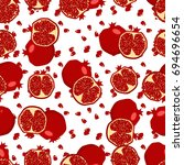 red fresh pomegranate pattern... | Shutterstock . vector #694696654