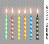 cake candles with flame | Shutterstock .eps vector #694707154