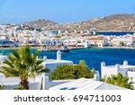 View Of Mykonos Port With Palm...
