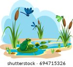 Illustration Of A Summer Pond...
