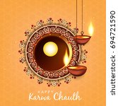 happy karwa chauth  beautiful... | Shutterstock .eps vector #694721590