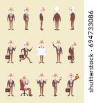 vector set of elderly business... | Shutterstock .eps vector #694733086
