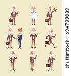 set of elderly business man in... | Shutterstock .eps vector #694733089