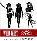 Silhouettes Of Western Cowgirl...