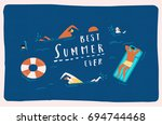 summer beach travel poster with ... | Shutterstock . vector #694744468