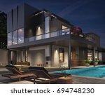 modern house exterior 3d... | Shutterstock . vector #694748230
