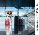 holiday vacation jack russell... | Shutterstock . vector #694754116