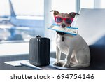 holiday vacation jack russell... | Shutterstock . vector #694754146