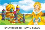 cartoon fairy tale scene with... | Shutterstock . vector #694756603
