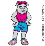 cute bulldog female with a pink ... | Shutterstock .eps vector #694759540