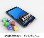 3d illustration of mobile phone ... | Shutterstock . vector #694760713