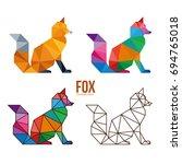 low poly logo icon symbol fox... | Shutterstock .eps vector #694765018