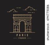 golden line art landmark icon... | Shutterstock .eps vector #694775086
