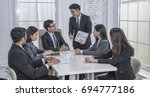 administrator  business meeting ... | Shutterstock . vector #694777186