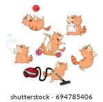 set of cartoon illustration. a... | Shutterstock . vector #694785406