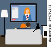 couple and cat watching news on ... | Shutterstock .eps vector #694792948