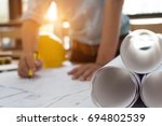 engineer man and architect... | Shutterstock . vector #694802539