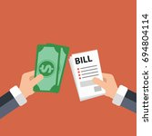 paying bills concept. one hand... | Shutterstock .eps vector #694804114