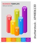 column chart template with 6... | Shutterstock .eps vector #694806130