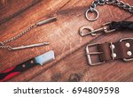 dog accessories on wooden... | Shutterstock . vector #694809598