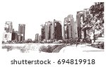 hand drawn sketch of dubai... | Shutterstock .eps vector #694819918