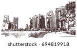 hand drawn sketch of dubai... | Shutterstock .eps vector #694819918