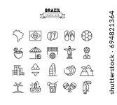 brazil  thin line icons set ... | Shutterstock .eps vector #694821364