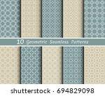 set of 10 seamless geometric... | Shutterstock .eps vector #694829098