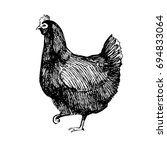 hand drawn picture of a hen... | Shutterstock .eps vector #694833064