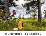 mountain biking equipment in... | Shutterstock . vector #694835980
