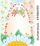 summer frame with butterflies ... | Shutterstock .eps vector #69486490