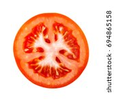 top view on red tomato slice... | Shutterstock . vector #694865158