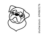 cute pug vector illustration.... | Shutterstock .eps vector #694865176